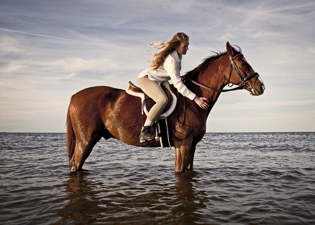 lifestyle image long haired rider on chestnut horse on beach in ocean