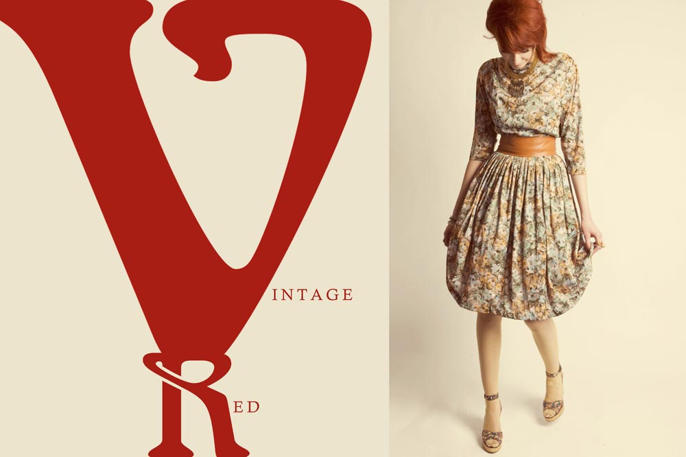 Vintage 1960s inspired mod makeup fashion redhead