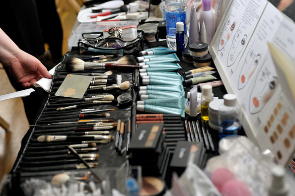 Backstage makeup station BeautiControl ElleStyle360 New York Fashion Week