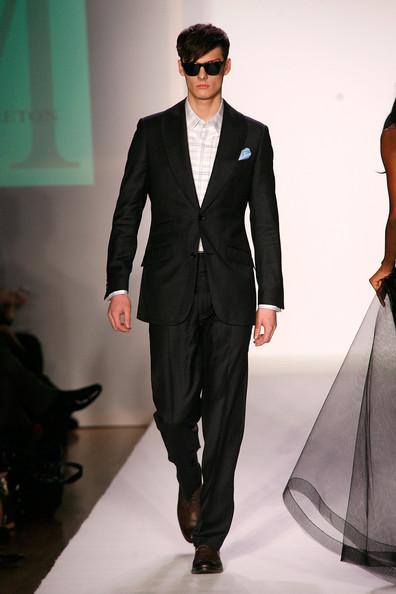 Male model walks the runway in formal menswear for Male model walks the runway in formal menswear for Malan Breton Fall 2012