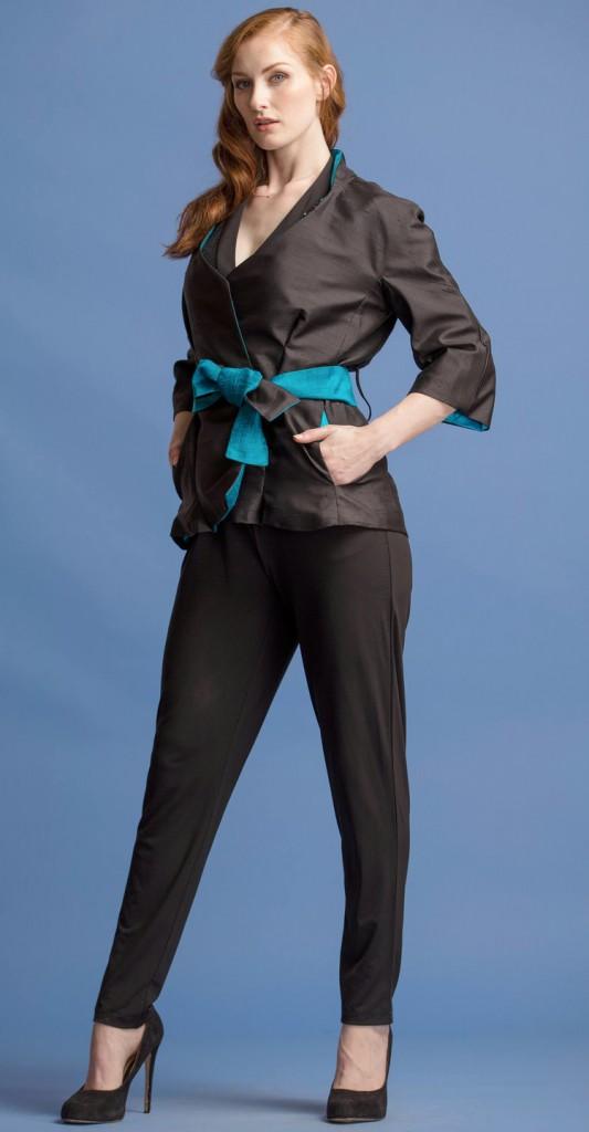 ladies-womens-kimono-black-belted-blazer-jacket-black-silk-origami-hand-woven-teal-white-thai-silk-lining-teresa-crowninshield-crown-coats-made-in-usa-2