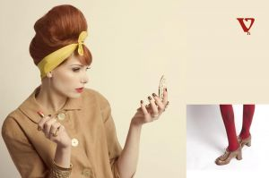 Vintage makeup 1960s red lips beehive redhead
